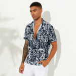 New Mens Summer Abstrct Printed Breathable Ethnic Casual Shirts