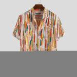 New Mens Fashion Graffiti Printed Breathable Half Sleeve Shirts