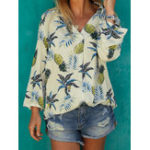 New Women Long Sleeve V-neck Floral Print Casual Blouse