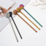 New 2 In 1 Stainless Steel Metal Washable Reusable Straw Spoon