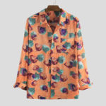 New Mens Vintage Leaf Printed Long Sleeve Autumn Casual Shirts