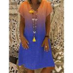 New Casual Women Gradient V-Neck Short Sleeve Dress