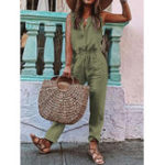 New Sleeveless O-neck Drawstring Waist Casual Jumpsuit