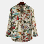 New Men Oriental Landscape Painting Print Long Sleeve Shirts