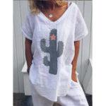 New Women Casual Cotton Cactus Print Short Sleeve Blouse