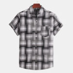 New Mens Vintage Plaid Pocket Short Sleeve Casual Shirts