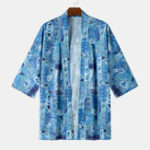 New Men Art Graffiti Print Half Sleeve Kimono Shirts