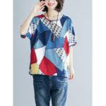 New Women Short Sleeve O-Neck Geometric Print T-Shirts