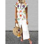 New Women Bohemian Floral Tassel High Split Long Maxi Dress