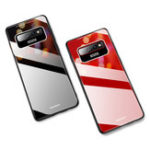 New Bakeey Luxury Lycra Series Shockproof Tempered Glass Back Cover Protective Case for Samsung Galaxy S10 Plus