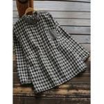 New Women Plaid Stand Collar Button Down Long Sleeve Blouse