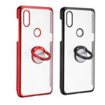 New Bakeey Transparent Ring Holder Color Plating Anti-Scratch Hard PC Protective Case For Xiaomi Mi MIX 3