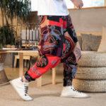 New Men's Hip-hop Printing Cotton Linen Mid Waist Casual Pants
