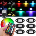 New 6Pcs Universal Colorful RGB LED Car Rock Lights  RF Dual Remote Control 5050 72 Led Waterproof IP68 Energy-saving Ambient Lamp Car SUV Pickup