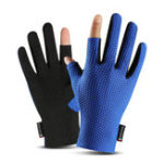 New 2 Cut Finger Anti-Slip Ice Silk Fishing Motorcycle Scooter Gloves Waterproof Breathable