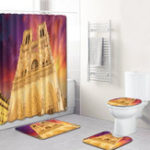 New 4PCS Notre Dame Waterproof Shower Curtain And Bathroom Toilet Seat Cover Bath Floor Mat