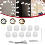 New 10PC USB Hollywood LED Bulb Vanity Makeup Dressing Table Dimmable Mirror Light Kit DC5V