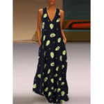 New Women Casual Avocado Print V-Neck Sleeveless Maxi Dress