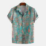 New Mens Colorful Pattern Printed Summer Turn Down Collar Shirts