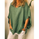 New Plus size Solid Color Breathable Batwing Sleeve Loose Blouse