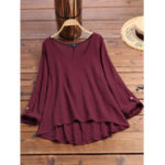 New Women Cotton Solid Color O-Neck HighLow Hem Blouse