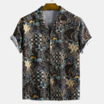 New Men Ethnic Style Abstract Printed Short Sleeve Lapel Shirts