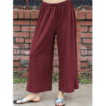 New Solid Color Casual Elastic Waist Wide Leg Pants