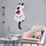 New Wagging Tail Cat Design Wall Clock Kids Bedroom Wall Decoration Unique Gift Creative Cartoon Mute DIY Clock