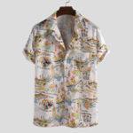 New Mens Fashion Funny Printed Hawaiian Short Sleeve Shirts