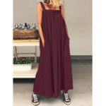 New Casual Women Loose Solid Color Side Pockets Sleeveless Dress