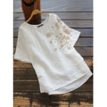 New Women Cotton Pure Color Embroidered O-Neck Blouse