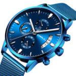 New CRRJU 2273 Men Blue Dial Full Mesh Steel Quartz Watch