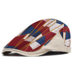 New Men's National Wind Color Geometric Print Beret Hat