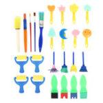 New 25Pcs Kids Painting Sponge Roller Brush Graffiti Pen Paint Drawing Toy DIY Tools