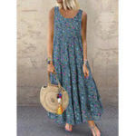 New Bohemian Sleeveless O-neck Floral Print Maxi Dress
