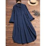 New Women Pure Color Button Lapel Irregular Hem Shirt Dress