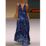 New Sleeveless V-neck Floral Print Maxi Dress