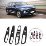 New 4Pcs/Set  Window Lift Car Switch Button Cover Trim For Hyundai Santa Fe 2019 2020