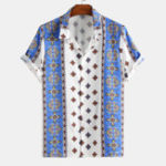 New Men Oriental Print Casual Turn Down Collar Short Sleeve