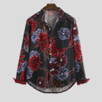 New Men Cotton Oriental Pattern Print Long Sleeve Relaxed Shirts