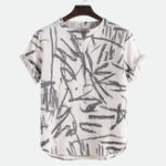 New Men Printed Cotton Linen Short Sleeves T-Shirts