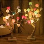 New 50CM/60CM Battery USB Powered LED Tree Cotton Ball Table Night Light for Bedroom Christmas Decor