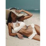 New White Lace Halter Bikini
