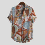 New Men Leaf Printed Hit Color Turn Down Collar Short Sleeve
