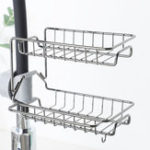 New 2 Layers Drain Rack Kitchen Sink Faucet Sponge Soap Cloth Storage Drying Holder