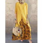 New Crew Neck Splice Contrast Color Irregular Floral Dress