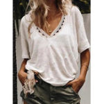 New Women Solid Color V-Neck Short Sleeve Blouse