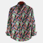 New Men Linen Printed Casual Loose Spring Long Sleeve Shirts
