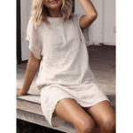New Women Solid Color Crew Neck Short Sleeve Dress