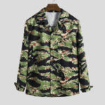 New Men Camouflage Long Sleeve Revere Shirts